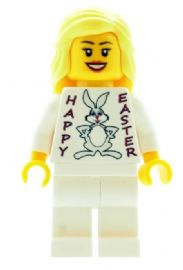 Girl with Happy Easter (Easter Bunny) T-shirt - Custom Designed Minifigure